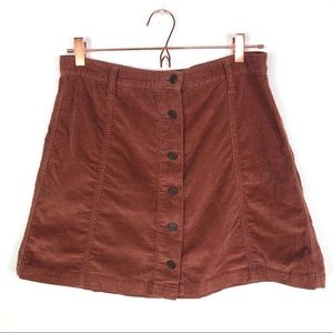 BDG Corduroy Button Front Skirt